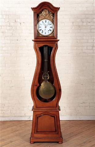 FRENCH OAK GRANDFATHER CLOCK SHAPED CASE