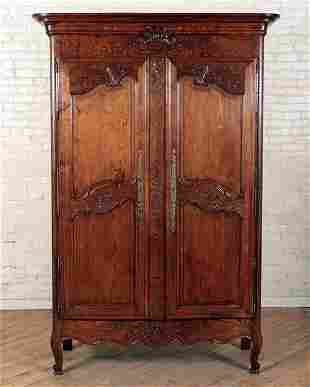 19TH C. FRENCH TWO DOOR CARVED OAK ARMOIRE