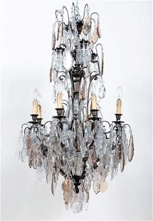 LARGE FRENCH BRONZE AND CRYSTAL CHANDELIER 1920