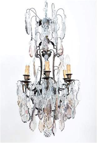 FRENCH BRONZE AND CRYSTAL CHANDELIER C.1920