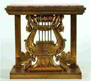 LATE 19TH C. FRENCH GILT MARBLE TOP CONSOLE