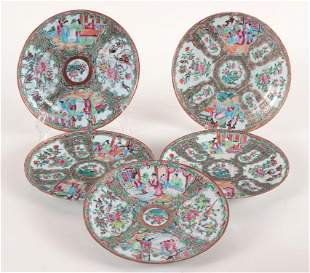 SET 5 19TH CENT. CHINESE FAMILLE ROSE PLATES