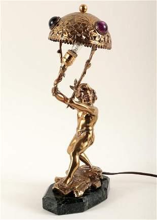 FRENCH PUTTI LAMP JEWELED SHADE MARBLE BASE 1900