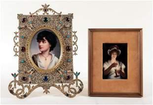 TWO GERMAN PORCELAIN PLAQUES CIRCA 1900