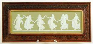 WEDGWOOD GREEN JASPER PORCELAIN PLAQUE IN FRAME