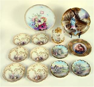 16 PIECE GROUPING OF HAND PAINTED PORCELAIN ITEMS