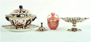 SIX ROYAL CROWN DERBY PORCELAIN OBJECTS C.1900