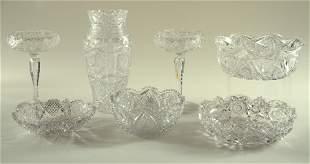 7PC. LOT AMERICAN BRILLIANT PERIOD CUT GLASS 1890