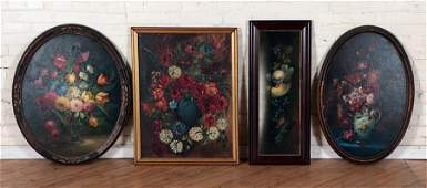 FOUR ANTIQUE STILL LIFE PAINTINGS OIL AND PASTEL