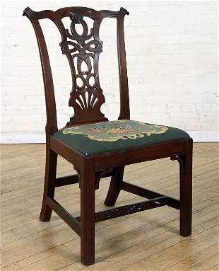A 19TH C MAHOGANY CHIPPENDALE STYLE SIDE CHAIR