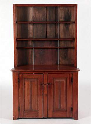 A 19TH C PRIMITIVE PINE HUTCH WITH OPEN TOP