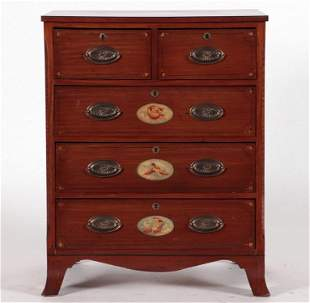 LATE 19TH C. ADAMS STYLE SATINWOOD CHEST DRAWERS