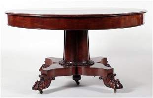 19TH C. ROUND MAHOGANY DINING TABLE CLAW FEET
