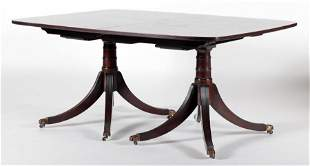 BANDED MAHOGANY DOUBLE PEDESTAL DINING TABLE 1930