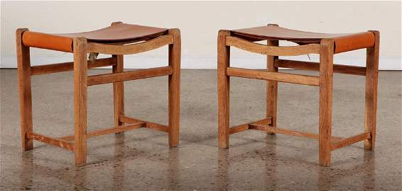 PAIR OF SUZANNE GUIGUICHON OAK LEATHER BENCHES