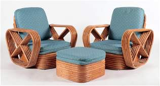 PAIR RATTAN ARM CHAIRS AND OTTOMAN BY PAUL FRANKL