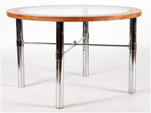 ROUND OAK GLASS TOP TABLE CHROME LEGS C.1975