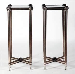 PAIR OF BRASS AND STEEL GLASS TOP TABLES