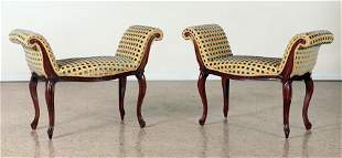 PR LOUIS XV STYLE UPHOLSTERED WINDOW BENCHES 1960