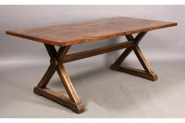 1: CONTINENTAL PLANK WOOD TOP DINING TABLE