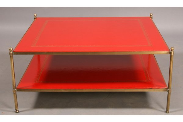 2: 2-TIERED BRASS COFFEE TABLE RED LEATHER