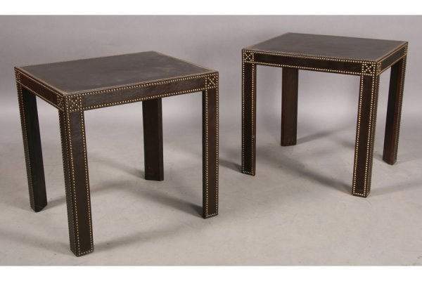 3: PR LEATHER PARSONS STYLE NAIL HEAD SIDE TABLES