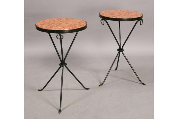 4: PAIR FRENCH WROUGHT IRON MARBLE ROUND SIDE TABLES