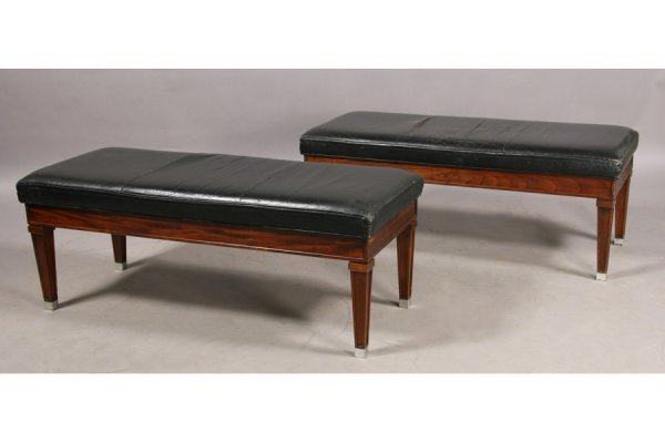 7: PR JEAN MICHEL FRANK STYLE LEATHER WALNUT BENCHES