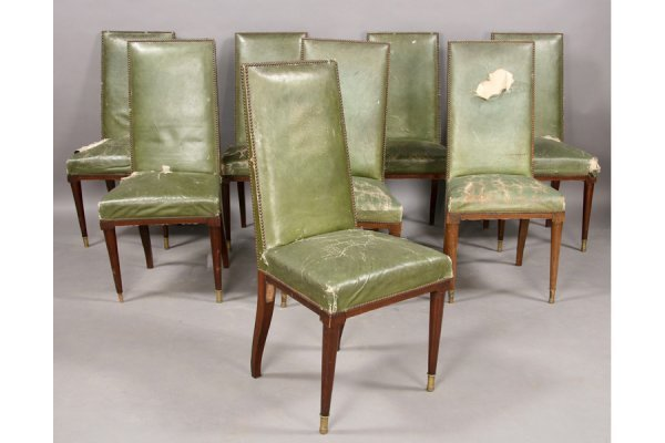 9: SET 8 JEAN MICHEL FRANK STYLE LEATHER DR CHAIRS
