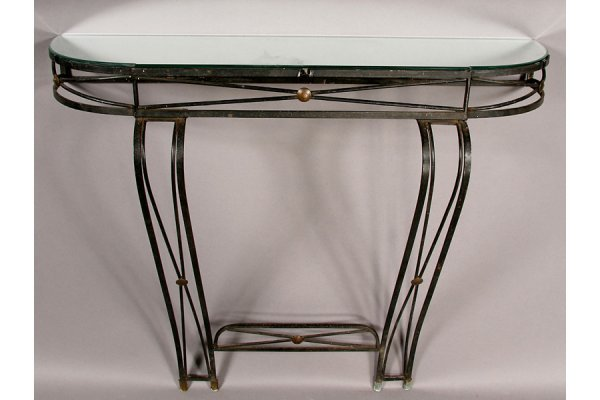 12: REGENCY STYLE IRON AND BRASS CONSOLE MIRRORED