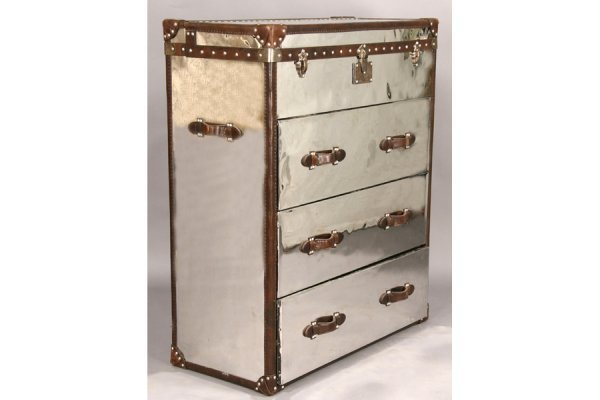 17: CAMPAIGN STYLE CHEST OF DRAWERS POLISHED METAL