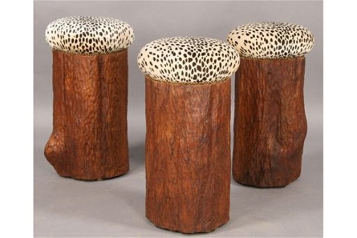 Pleasing 18 Set 3 Carved Tree Stump Bar Stools Faux Leopard Camellatalisay Diy Chair Ideas Camellatalisaycom