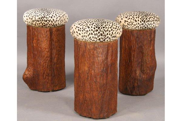 18: SET 3 CARVED TREE STUMP BAR STOOLS FAUX LEOPARD