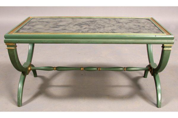 23: DAVID HICKS STYLE PAINTED MIRRORED COFFEE TABLE