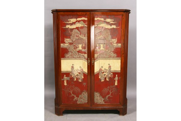 208: JANSEN CHINOISERIE STYLE CABINET MARBLE LACQUER