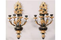 511 PR ITALIAN GILTWOOD CARVED PAINTED 4 ARM SCONCES