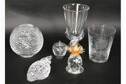 712 6 PC LOT CRYSTAL STEUBEN WATERFORD SWAROVSKI