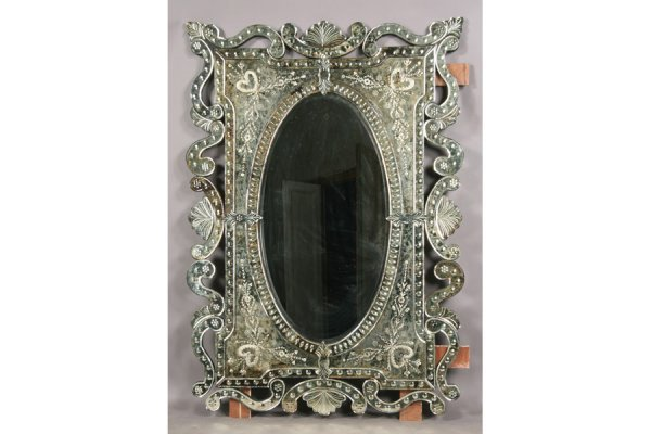 4: LARGE VENETIAN STYLE MIRROR ETCHED DESIGN