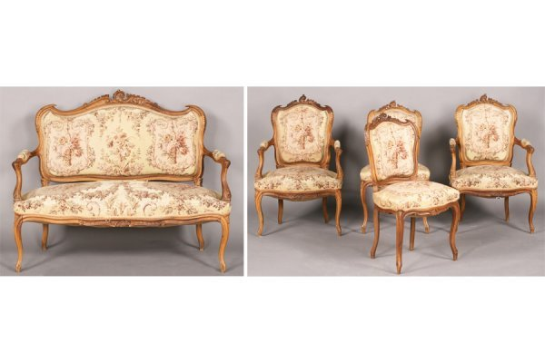6: FIVE PICE LOUIS XV PARLOR SET ARM CHAIRS SETTEE