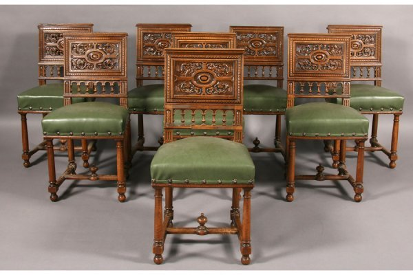 7: SET 8 MANNERIST CARVED WALNUT DINING CHAIRS