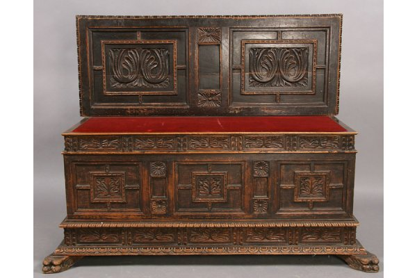 13: ANTIQUE CARVED CASSONE STYLE BENCH