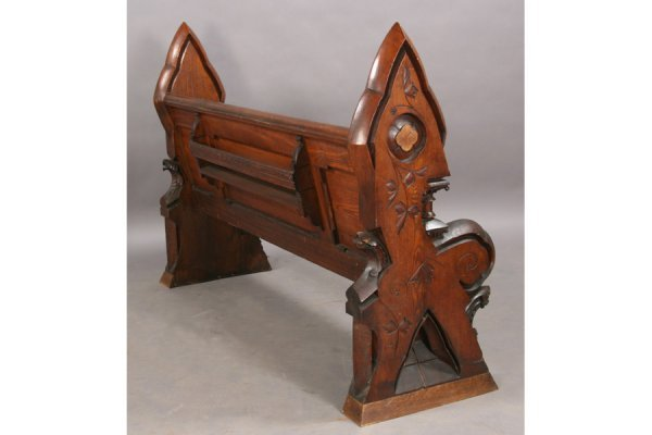 123: ANTIQUE GOTHIC STYLE PABST OAK BENCH PEW - 3