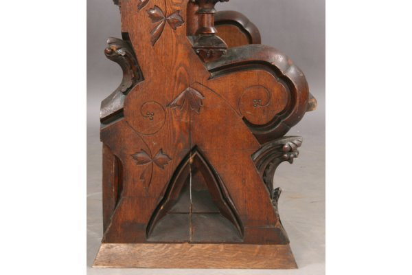 123: ANTIQUE GOTHIC STYLE PABST OAK BENCH PEW - 6