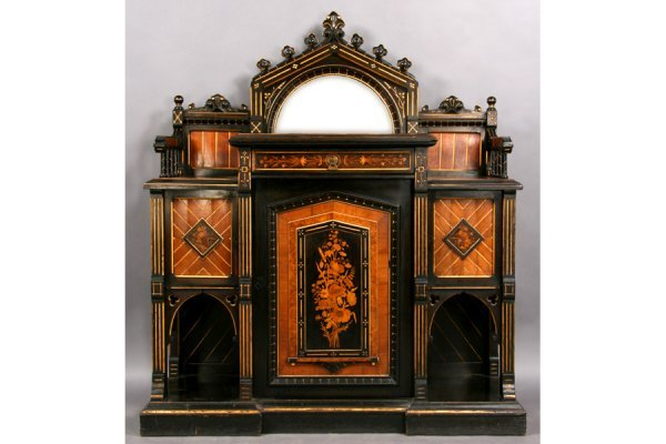 143: ANTIQUE VICTORIAN INLAID SIDEBOARD HERTER STYLE
