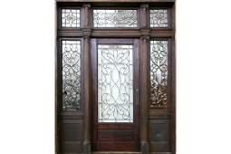563: ANTIQUE VICTORIAN OAK GLASS ENTRY DOOR
