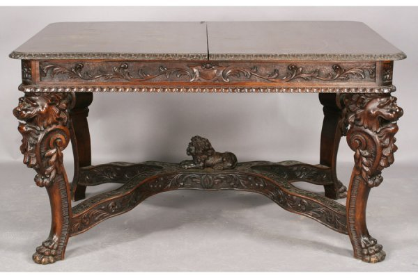 1A: Victorian carved walnut dining table with gadrooned