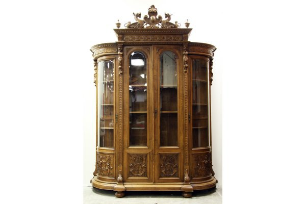 4A: A very good Victorian carved walnut china cabinet w