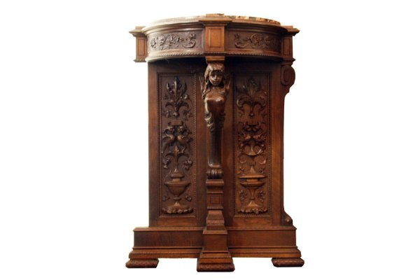 5A: Pair of antique French walnut figural consoles with