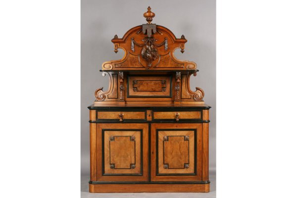 8A: Victorian carved and burled walnut server with ebon
