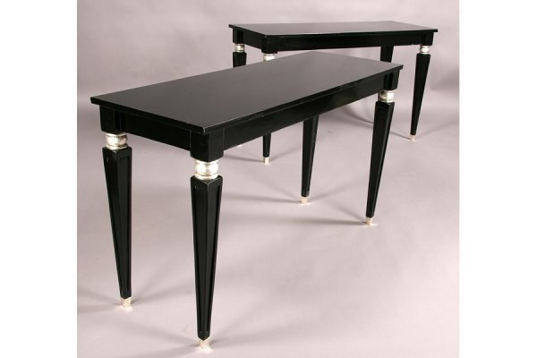 2: PAIR EBONIZED CONSOLE TABLE SILVERED ACCENTS